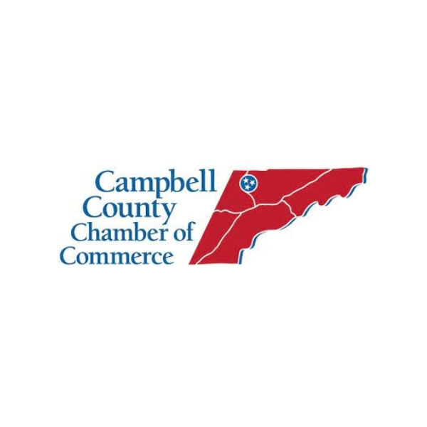 Campbell County TN Chamber of Commerce's logo depicting East TN with a Tri Star where Campbell County is located