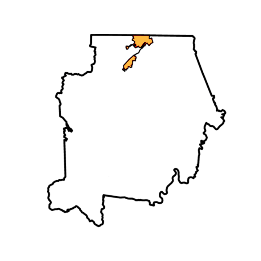 Map of Campbell County With Jellico Highlighted