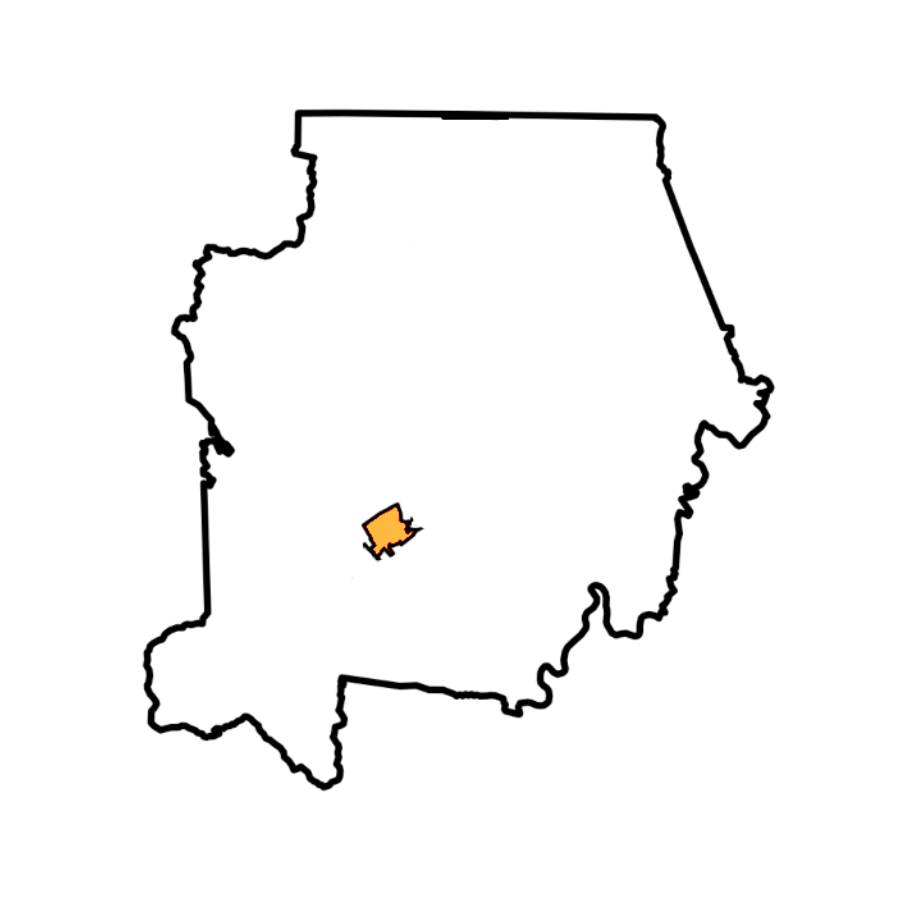 Map of Campbell County With Jacksboro Highlighted