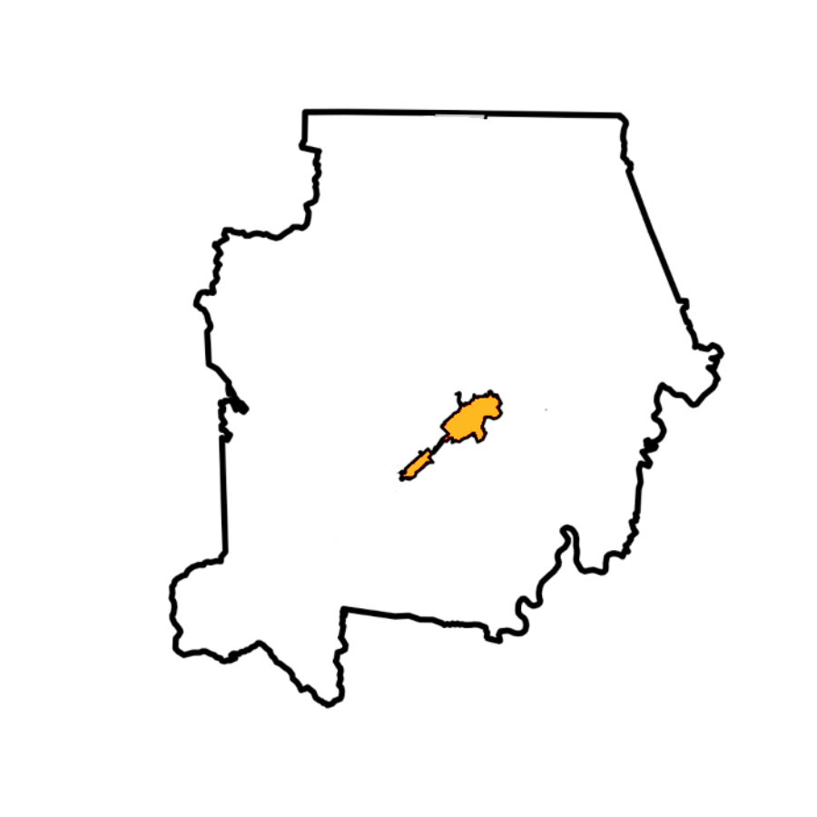 Map of Campbell County With LaFollette Highlighted